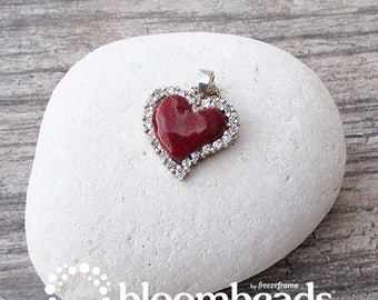 Floral Preservation, Teardrop Heart Pendant with CZs, Keepsake Jewelry, Remembrance Gift