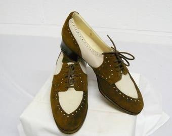 Vintage lace-up two tone shoes