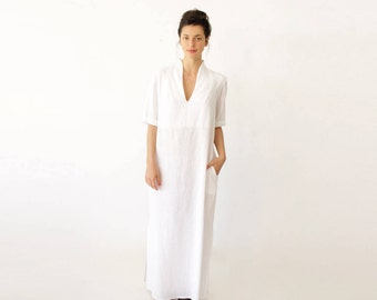 Short Sleeve Wedding Dress, Long White Dress, V Neck Wedding Dress, Casual Wedding Dress, Minimalist Dress, Plus Size Wedding Dress, Modern