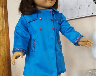 """Sea Blue Raincoat and Hat for 18"""" Dolls"""