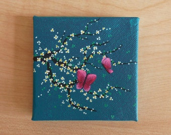 Tiny Turquoise Canvas, Yellow and White Cherry Blossom with Butterflies, Original Acrylic Painting, Miniature Painting, Art & Collectibles