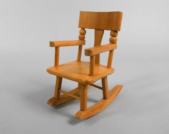"""Strombecker Wooden Doll Rocking Chair Ginny Doll Size 8"""" Doll Chair"""