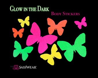 Butterfly Glow-in-the Dark Body Stickers- Rave Costume-Neon Butterflies, Stripper clothes, Rave Stickers, Reusable Glow Stickers