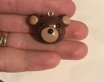 Adorable Brown  Teddy Bear Face Charm made of oven bake polymer clay