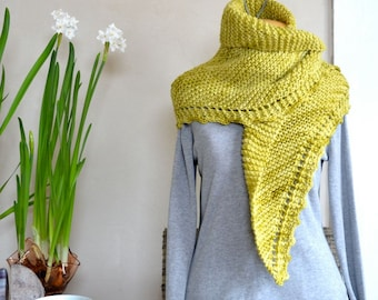 Hand Knit Shawl Spring Sage Green / Scarf Soft Light Wool Hand Dyed