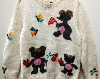 Adorable Vintage TEDDY BEAR Novelty Sweater Butterflies Cherries 100% WOOL So Fun & Sweet