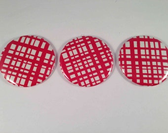 Red and White Plaid Pocket Mirrors