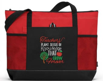 Teacher Tote Bag/ Teacher Gift/ Embroidered Teachers Plant Seeds Of Knowledge That Grow Forever Teacher Tote Bag/ Teacher Appreciation