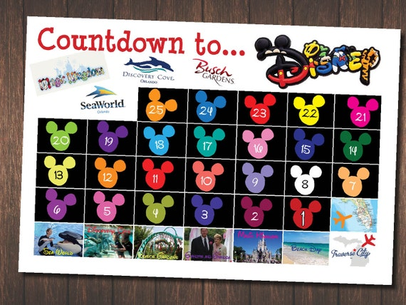 30 Day Countdown To Disney Trip Chart Trip Countdown