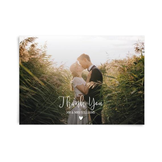 Wedding thank you cards with photo thank you card, Thank you post card, Thank you card set,  Thank you postcard wedding, Custom stationary