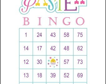 Easter Bingo Game Cards, 100 cards, 1 per page, 75 call, immediate pdf download