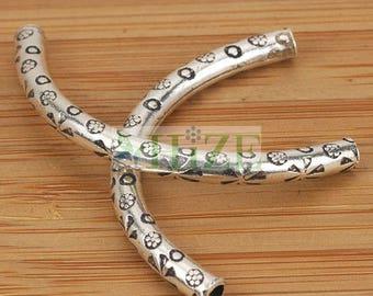 HIZE SB132 Thai Karen Hill Tribe Silver Curve Tube Focal Beads 47mm (2)