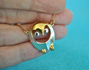 Vintage Signed TRIFARI Owl Necklace, Two Tone, Girl's Jewelry, Girl's Necklace, Trifari Necklace, Trifari Jewelry, Gold Necklace 18-271