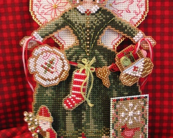 Brooke's Books Spirit of Christmas Stitching Angel Dimensional Ornament INSTANT DOWNLOAD Cross Stitch Chart
