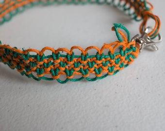 15.5 orange and green hemp necklace