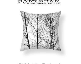 Trees Photo Pillow Cover, Tree branches Silhouette Toss Pillow, Tree Pillow case, Black White Photo Tree Pillow Cover, Nature Woods Decor