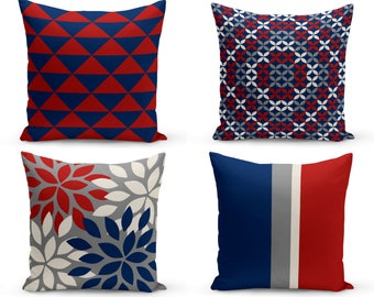 Outdoor Pillows, Grey Red Navy Off white,  Outdoor Home Decor, Outdoor Throw Pillows