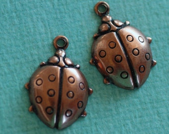 SALE 2 Copper Ladybug Charms 2642