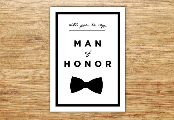 Will you be my man of honor wedding party card man of honor junglespirit Images