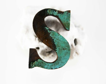 """Beach Decor Wooden LETTER """"S"""" Vintage Style Nautical by SEASTYLE"""