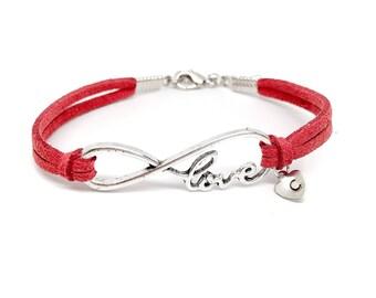 Adult Infinite Love Charm Bracelet / Valentine's Day Gift for Her