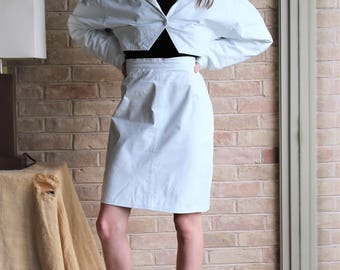 Skirt Outfit Women | Vintage Philip Noel, Small, White Leather, Pencil Skirt, Cropped Jacket, Leather Skirt, Leather Jacket, White, 80s