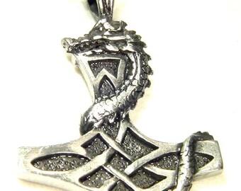 "Thor's Hammer Necklace Pewter Pendant Viking Mjollnir Norse 24"" chain  4165E"