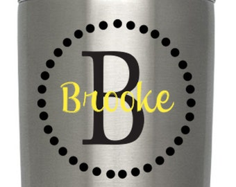 Initial Circle Custom Name Decal - Vinyl Decal Sticker - Monogram Name Yeti RTIC Tervis Cup Decor Decal - Choose TWO Colors & Size!