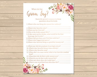 Rose Gold Boho What Did the Groom Say Game, Printable Pink Floral Boho What Did the Groom Say Activity Bohemian Game Instant Download 110-RG