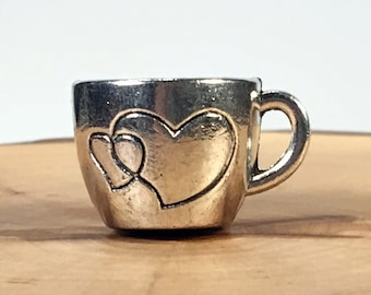 Mug Charm Pendants, Coffee Mug Pendant, Cup Charm Pendant, Love Coffee Pendant, Foodie Charm Pendant, Silver Tone, Ships from Canada, Coffee