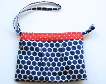 Red white and blue wristlet clutch. Red white and blue accessories. Mom gift ideas. Polka dot clutch. Gift for her under 20. Wristlet purse.