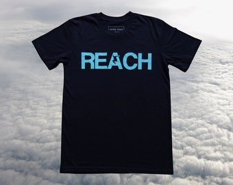 The REACH / ESCAPE Parkour T-Shirt - Navy with Duck Egg Blue Print