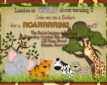 Zoo birthday party, safari animals birthday, zoo invite, zoo invitation, Jungle Safari Invitation, zoo safari invite, zoo theme-Digital File