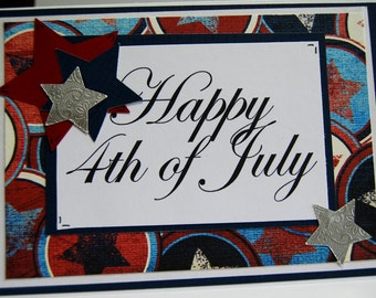 Happy 4th of July - Patriotic Handmade Greeting Card, Red White and Blue with Stars
