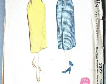 Spring Sale 1950s Wrap Skirt Vintage Sewing Pattern McCall's 3277 Wrapped Skirt Wrap Around Skirt   Waist 23
