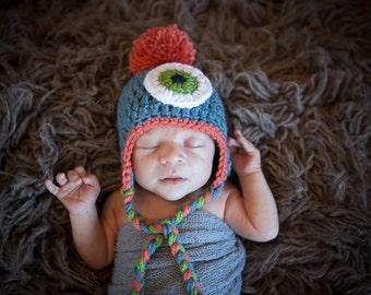 Halloween Hat / Baby Monster Hat / Crochet Monster Hat for Boys or Girls / Blue Monster Hat / Baby Monster Costume Hat / Crochet Monster Hat