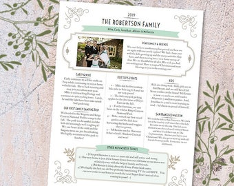 Family newsletter etsy year in review newsletter template in pdf for print tuscan joys layout 1 with 1 photo entry printable adobe reader required maxwellsz