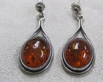 Sterling Silver and Amber Post Dangle Earrings