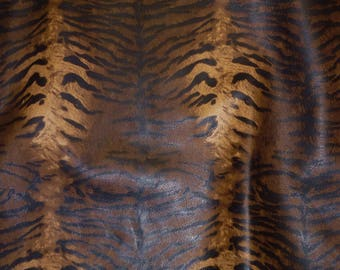 """Leather 12""""x12"""" ZEBRA / Tiger Caramel Brown BLACK (NOT hair on) Striped Cowhide 2.5-3 oz / 1-1.2 mm PeggySueAlso™ E6660-01"""
