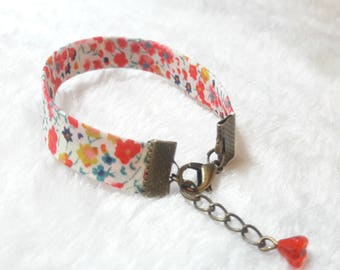 Liberty bracelet bronze coral & red flowers