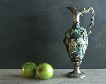 Exquisite Vintage Hand Painted Riprod Vietata C.C. Art. 2598 Italian Hand Painted Wine Decanter, Grape Design with Images of Village People