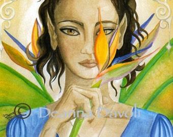 Fairy Art Fantasy Art Print 8x10 Ethnic Art Tropical Art Faerie Fae Flower