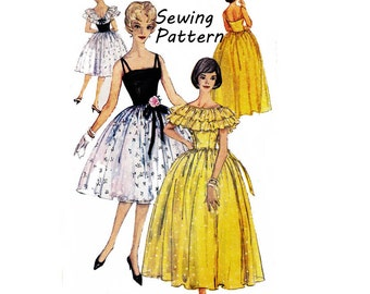 """Simplicity 3822 Woman's Cocktail or Evening Dress and Capelet Sewing Pattern Size 16 Bust 33""""/ 91cm Vintage 1960s"""