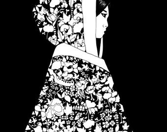 Japanese Ghost Story Illustration // Japanese Ink Print // Limited Edition Print // Black and White Art // Pen and Ink drawing