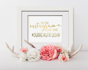 Do You Instagram? Please Share|Instagram Wedding Signage|Framed Wedding Hashtag Sign|Instagram Sign In|Social Media Sign|Instagram Wedding