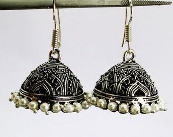 Oxidized Black Metal Jhumkas /Jhumkis with Pearls / antiquated black metal jhumki earrings with pearls (MJ34)