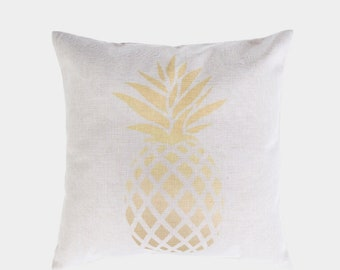 Golden Pineapple, 18x18 square pillow cover,