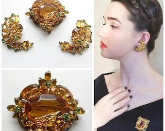 Vintage 1960s 1950s Demi Parure Topaz Gold Filigree / 60s 50s Midcentury Brooch Pin Clip-On Earrings Set Sparkly Orange