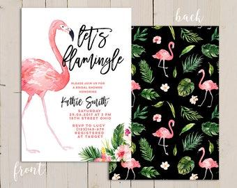 let's flamingle flamingo bridal shower, pink & black flamingo invitation, Flamingo Party Invitation Lets Flamingle Digital Printable invite