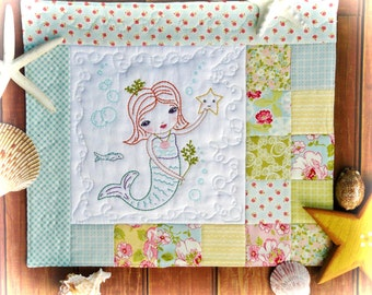 Merry Mermaid embroidery Pattern PDF - Quilt sea beach stitchery
